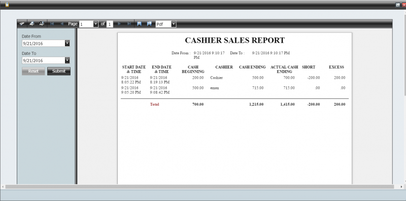 cashiers report